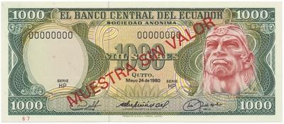 Ekvádor, 1000 Sucres 1980, anulát - MUESTRA, P.120s2