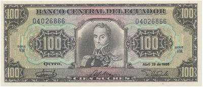 Ekvádor, 100 Sucres 1986, P.123