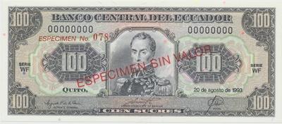 Ekvádor, 100 Sucres 1993, anulát - ESPECIMEN, P.123As2