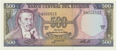 Ekvádor, 500 Sucres 1984, P.124