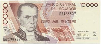 Ekvádor, 10.000 Sucres 1988~1994, P.127a