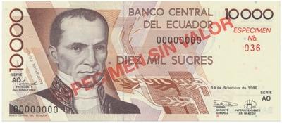 Ekvádor, 10.000 Sucres 1998, anulát - ESPECIMEN, P.127s4
