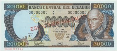 Ekvádor, 20.000 Sucres 1999, anulát - ESPECIMEN, P.129s3