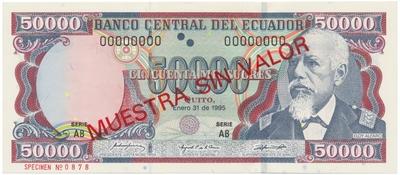 Ekvádor, 50.000 Sucres 1995, anulát - ESPECIMEN, P.130s1