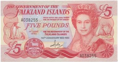 Falklandy, 5 Pounds 1983, pamětní vydání, P.12a