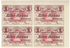 Falkenau (Falknov) - okres, 1 K  1918, část tiskového archu, HH.46.1.1c   4 ks