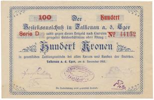 Falkenau (Falknov) - okres, 100 K  1918, HH.46.1.9b