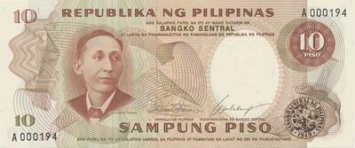 Filipíny, 10 Piso (1969), první série a nízké číslo, P.144a