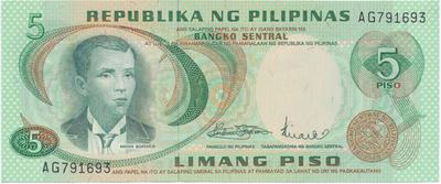 Filipíny, 5 Piso (1970), P.148a