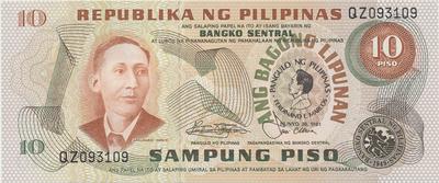 Filipíny, 10 Piso 1981, P.167a