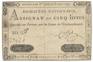 Francie, 5 Livres 6. 5. 1791, P.A42