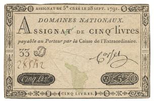 Francie, 5 Livres 28. 9. 1791, P.A49
