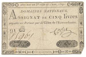 Francie, 5 Livres 1. 11. 1791, P.A49