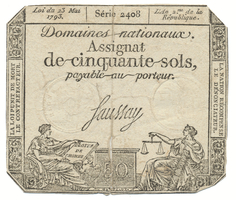 Francie, 50 Sols  23. 5. 1793, P.A70b