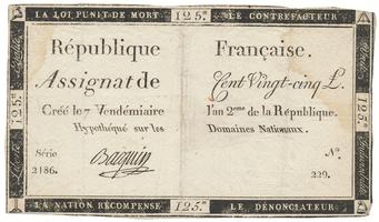 Francie, 125 Livres 1793, P.A74
