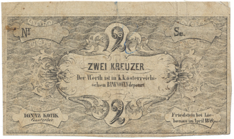 Friedstein bei Liebenau (Frýdštejn) - Ignatz Kotik, 2 kr. konv. měny 1849, VR.335.02.02.O