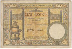 Franc. Indočína, 100 Piastres (1936~1939), P.51d
