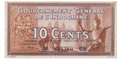 Franc. Indočína, 10 Cents (1939), P.85d