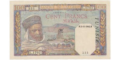 Francouzský Tunis, 100 Francs 1942, P.13b