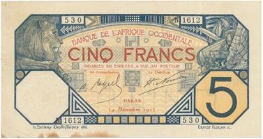 Franc. Západní Afrika, 5 Francs 14. 12. 1922, P.5Bb