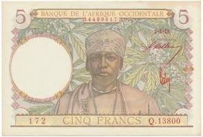 Franc. Západní Afrika, 5 Francs 1943, podpisy červeně, P.26