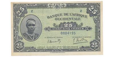 Franc. Západní Afrika, 25 Francs 1942, P.30a