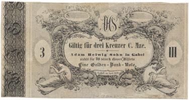 Gabel (Jablonné v Podještědí) - Adam Helwig, 3 kr. konv. měny 1849, VR.345.04.02.F