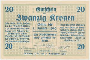 Gablonz (Jablonec n. N.) - město, 20 K  1918, suchá pečeť, výjimečně nízké číslo 000021(!), HH.50.2.1a