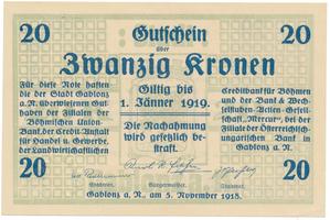 Gablonz (Jablonec n. N.) - město, 20 K  1918, suchá pečeť, HH.50.2.1a