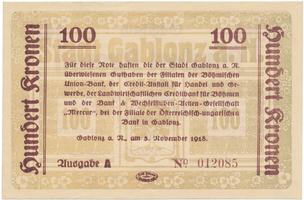 Gablonz (Jablonec n. N.) - město, 100 K  1918, HH.50.2.2b