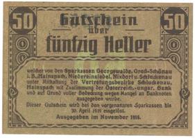 Georgswalde atd. (Jiříkov atd.) - spořitelny, 50 hal  1918, HH.53.1.1b