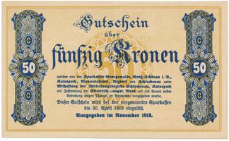 Georgswalde atd. (Jiříkov atd.) - spořitelny, 50 K  1918, HH.53.1.5b