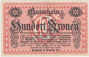Georgswalde atd. (Jiříkov atd.) - spořitelny, 100 K  1918, HH.53.1.6b