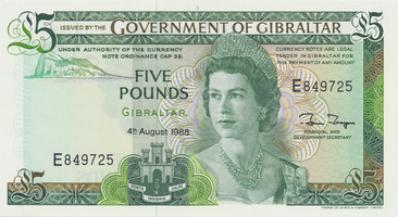 Gibraltar, 5 Pounds 1988, P.21b