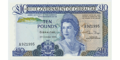 Gibraltar, 10 Pounds 1986, P.22b