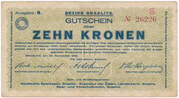 Graslitz (Kraslice) - okres, 10 K  1918, HH.56.1.2b