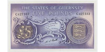 Guernsey, 5 Pounds b.d. (1969~1975), P.46c