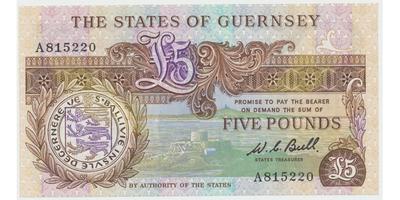 Guernsey, 5 Pounds b.d. (1980~1989), P.49a
