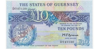 Guernsey, 10 Pounds b.d. (1980~1989), P.50b