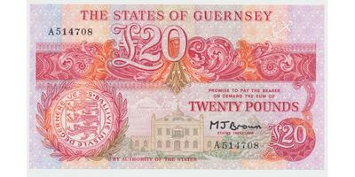Guernsey, 20 Pounds b.d. (1980~1989), P.51b