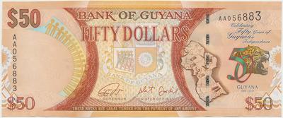 Guyana, 50 Dollars 2016, pamětní - 50 let Guyany, P.41