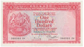 Hongkong, 100 Dollars 1981, P.187c
