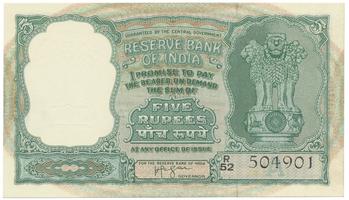 Indie, 5 Rupees (1957), P.35b