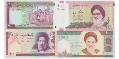 Írán, 100,2000,1000,2000 Rials (1985-2005), P.140,141,143,144   4 ks