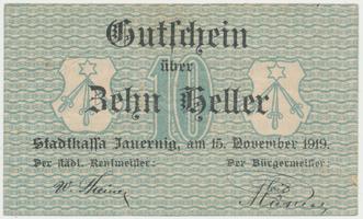 Jauernig (Javorník) - město, 10 h  1919, HH.85.2.1