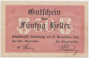 Jauernig (Javorník) - město, 50 h  1919, HH.85.2.3