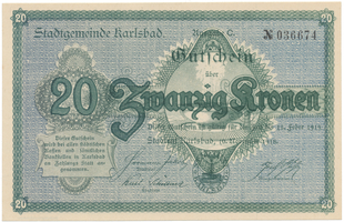 Karlsbad (Karlovy Vary) - město, 20 K  1918, HH.95.3.3a