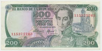 Kolumbie, 200 Pesos Oro 1975, P.417b