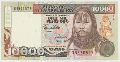 Kolumbie, 10000 Pesos Oro 1992, P.437