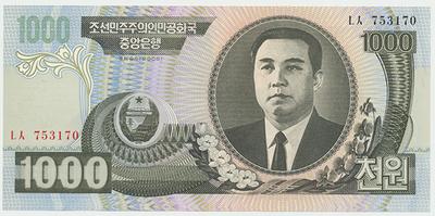 Severní Korea, 1000 Won 2006, P.45b